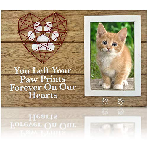 Pet Memorial Gifts - 4x6 Dog Picture Frame with Paw Prints & Woven Heart Design