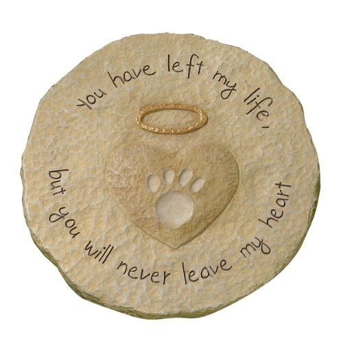 """You will never leave my heart"" Paw Print with Halo Pet Remembrance Stepping Stone"