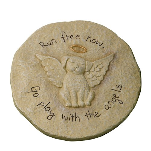 """Run free now"" Dog with Halo Remembrance Stepping Stone Plaque"
