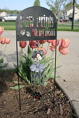 Pet Memorial Garden Stake U0026l Wind Chimes   Paw Prints On My Heart
