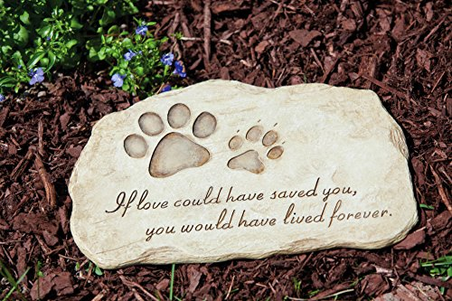 "Evergreen Garden Pet Paw Print Devotion Painted Polystone Stepping Stone - 12""W x 0.5""D x 7.5""H"