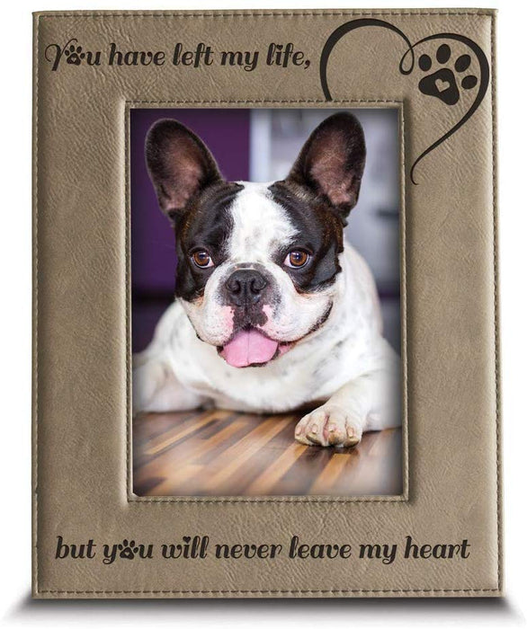 Pet Memorial Engraved Leather Picture Frame - Pet Loss gifts