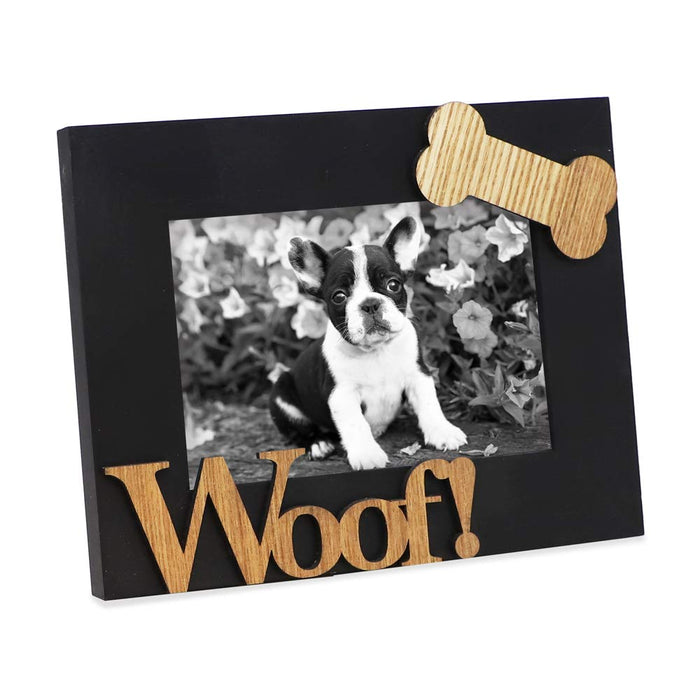 "Black Wood Sentiments Dog ""Woof!"" Picture Frame, 4x6 inch"