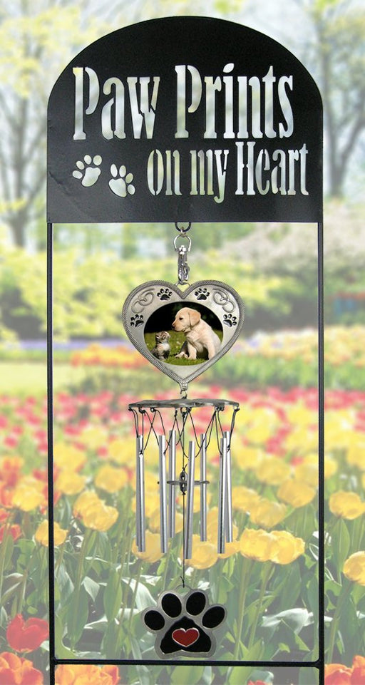 Pet Memorial Wind Chimes - Black Wrought Iron Garden Stake and Windchime