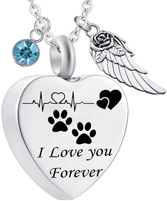 Paw Prints Heart Birthstone Keepsake Necklace - Pet Memorial Urn