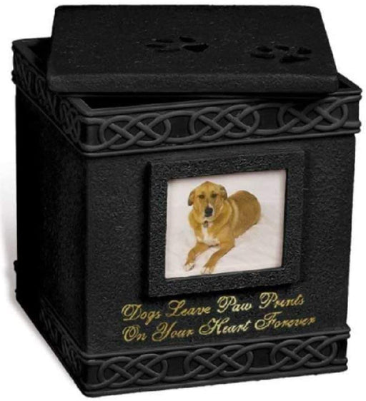 "Pet Urn Memorial - ""Dogs Leave Paw Prints On Your Heart Forever"""