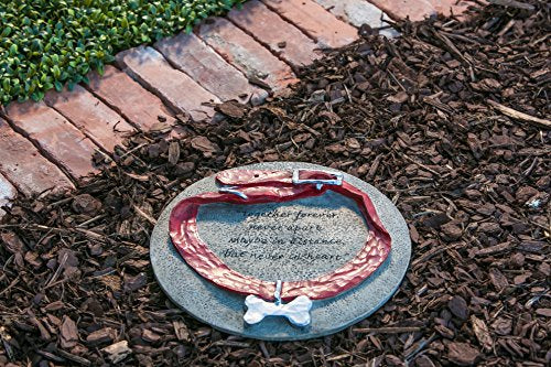 "Dog Collar Memorial Painted Polystone Stepping Stone - 12""W x 1""D x 12""H"