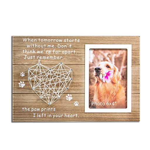 Dog and Cat Memorial Gifts - Paw Prints Sympathy Picture Frame for Pet Loss - 4x6 Inches