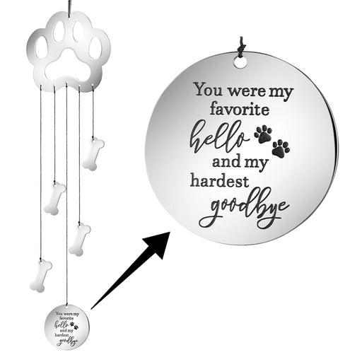 Dog Memorial Wind Chime Paw Print Pet Sympathy Garden Gifts