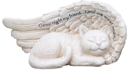 Small Sleeping Cat in Angel's Wing Garden Statue with Inscription, 8 x 4