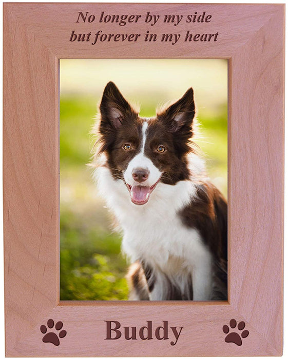 No Longer by My Side but Forever in My Heart - Custom Engraved Wood Dog Picture Frame Holds 4x6 Inch Photo
