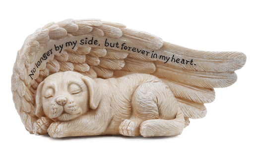 Small Sleeping Dog in Angel's Wing Garden Statue with Inscription, 8 x 4