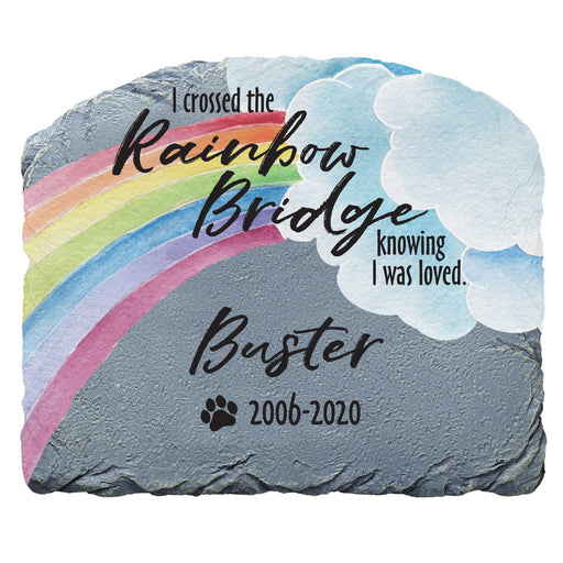 Pet Memorial Garden Stone - Over The Rainbow Bridge - Customize with Your Pets Name
