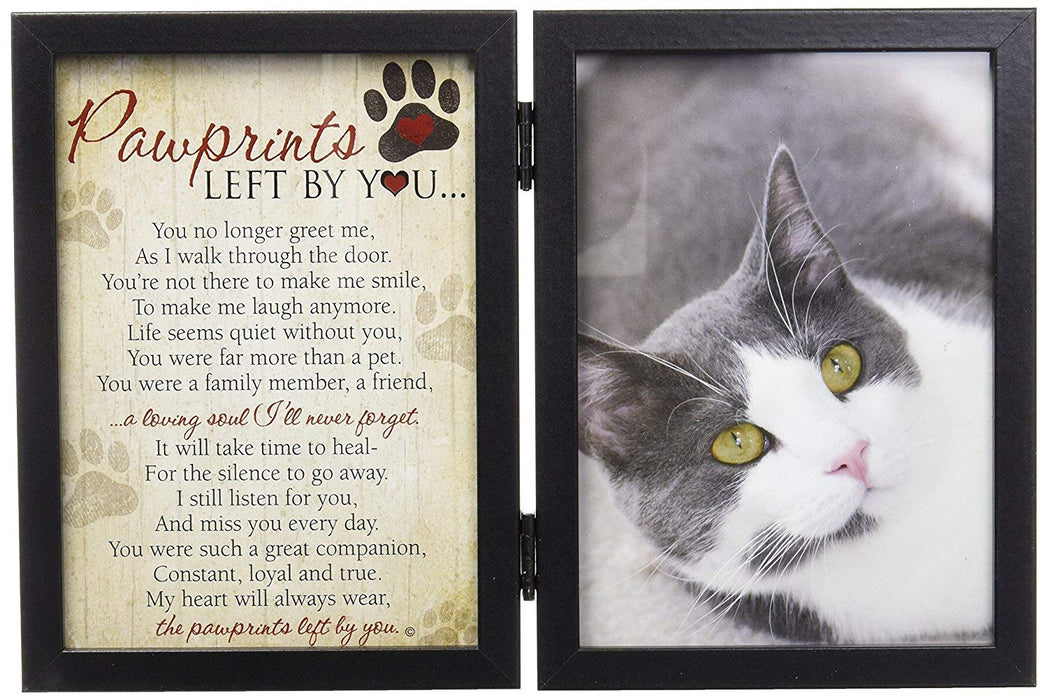 "Pet Memorial 5"" x 7"" Frame for Cats with Pawprints Left by You Poem"