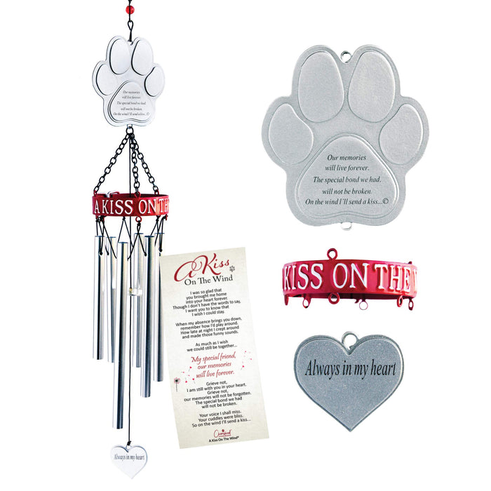 "Pet Memorial Wind Chime  ""A Kiss on the Wind"""