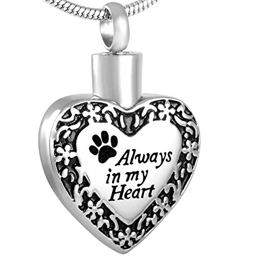 Always in Heart - Border Design Keepsake Urn Pendant