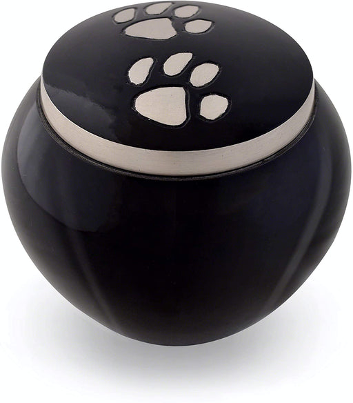 Pet Urn - Ebony, Double Pewter Paws