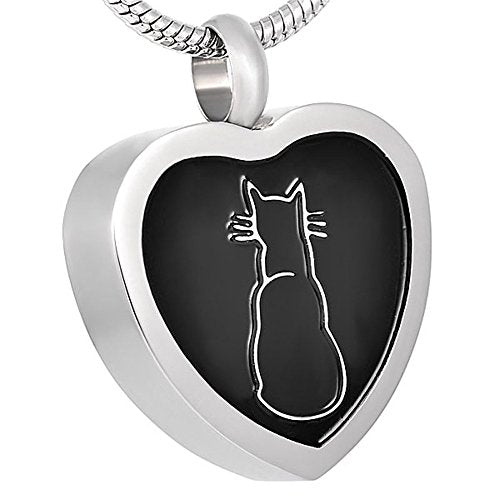 Cat in Heart Keepsake Urn Pendant