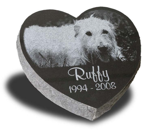 Heart-Shaped Pet Grave Marker - Large (Custom Laser Engraved)