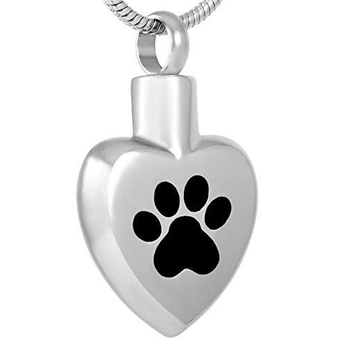 Heart with Paw Keepsake Urn Pendant