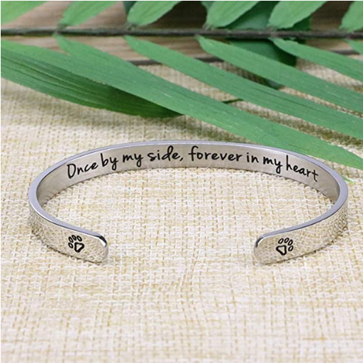 Pet Sympathy Gifts Memorial Cuff Bangle Bracelet