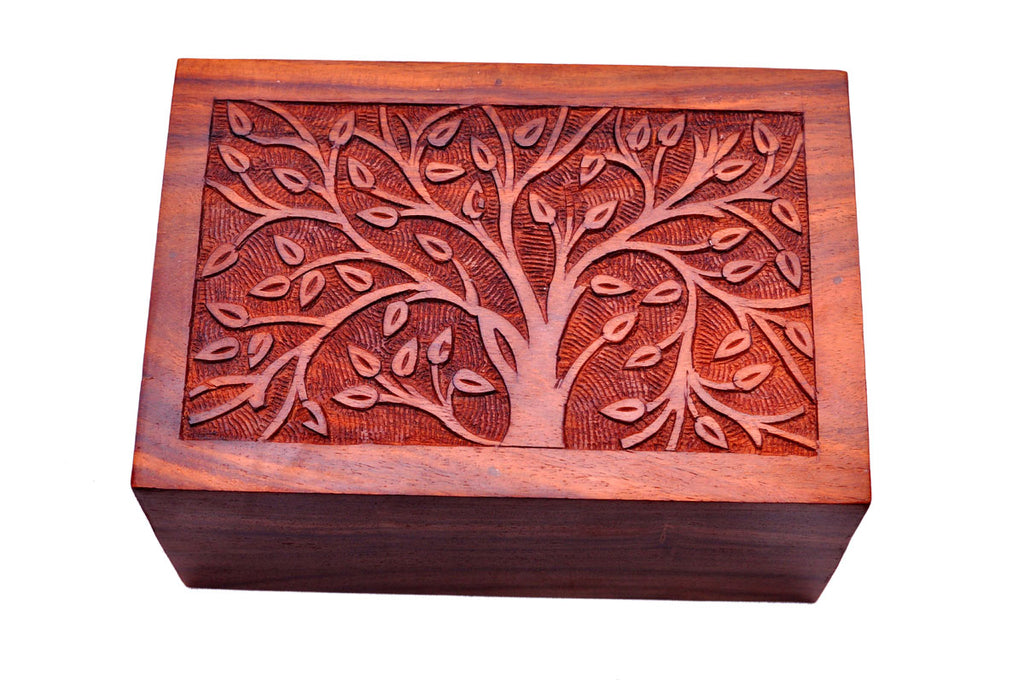 Hand-Carved Memory Tree Rosewood Urn