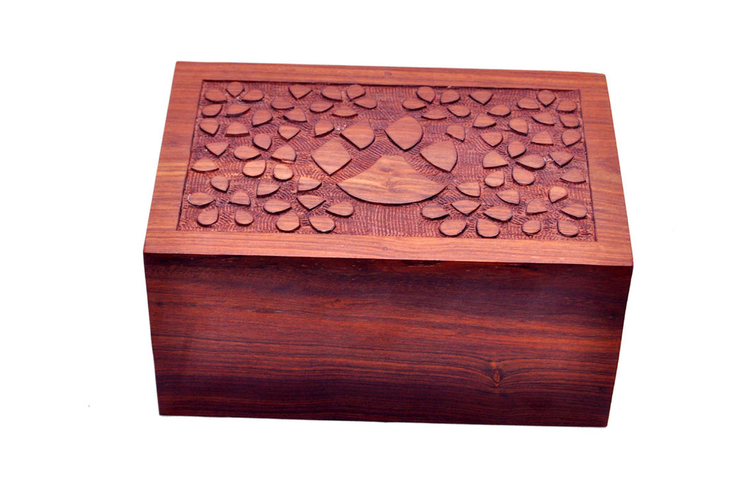 Hand-Carved Rosewood Paw Print Urn