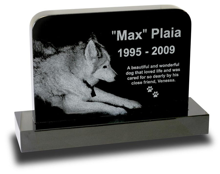 Large Rounded Pet Monument - Laser Engraved 2