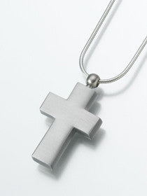 Pewter Cross Keepsake Urn Pendant - Pet Dog Cat