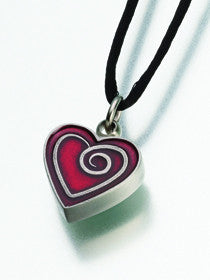 Pewter Heart Spiral Keepsake Urn Pendant - for Pets, Cats, and Dogs