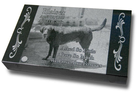 "Premium Granite Pet Grave Marker - 16"" x 10"" (Custom Laser Engraved)"