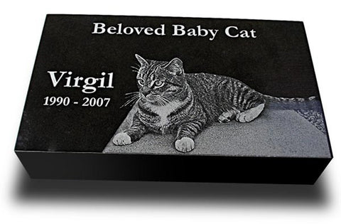"Premium Granite Pet Grave Marker - 12"" x 8"" (Custom Laser Engraved)"