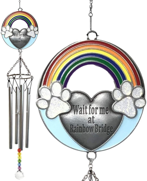Rainbow Bridge Pet Memorial Wind chimes - Wait for Me at Rainbow Bridge