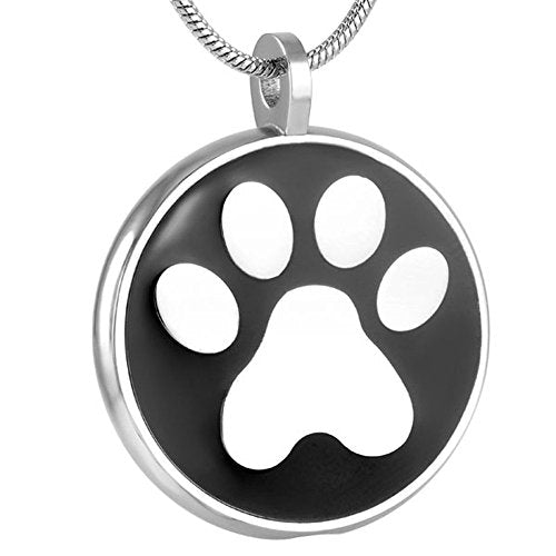 Single Paw in Black Keepsake Urn Pendant