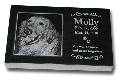 "Standard Granite Pet Grave Marker - 10"" x 6"" (Custom Laser Engraved)"