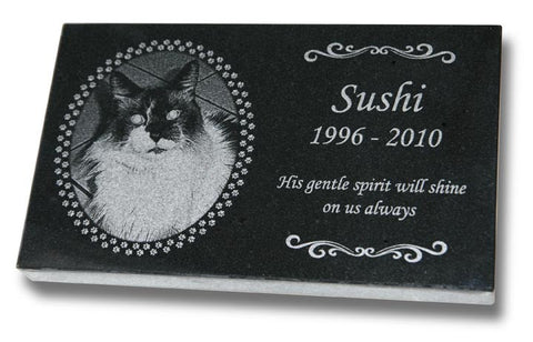 "Standard Granite Pet Grave Marker - 7"" x 4"" (Custom Laser Engraved)"