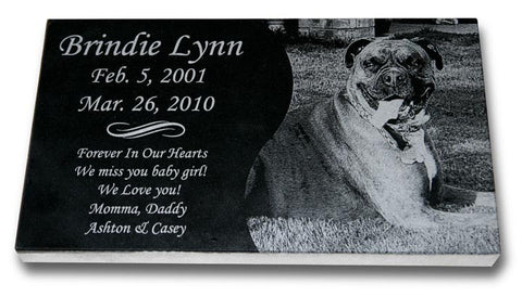 "Standard Granite Pet Grave Marker - 14"" x 8"" (Custom Laser Engraved)"