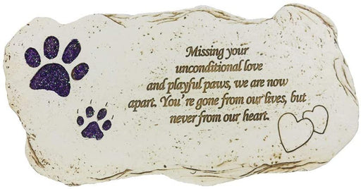 Shinning Pawprints Pet Memorial Stone Hand-Printed Pet Garden Stone Grave Markers