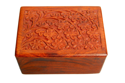 Hand-Carved Rosewood Tree of Life Urn