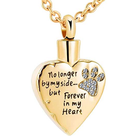 Paw Memorial Urn Pendant - Heart Keepsake Ashes Necklace