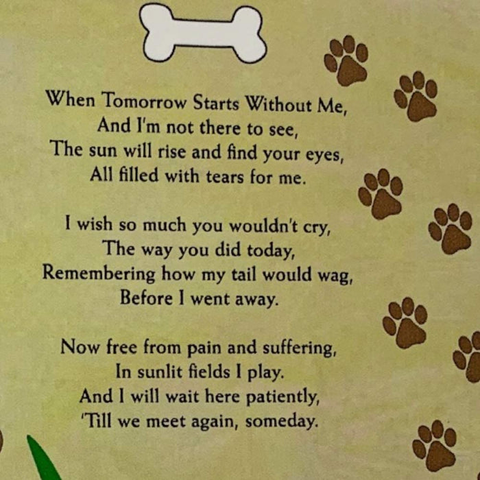 Pet Memorial Picture Frame - When Tomorrow Starts Without Me Loving Poem - Heart Shaped Photograph