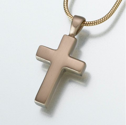 Brass Cross Keepsake Urn Pendant
