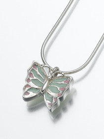 Sterling Silver Butterfly w/ Enameled Wings Keepsake Urn Pendant