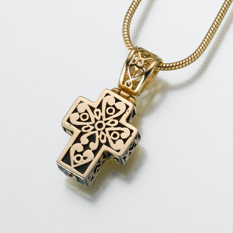 Filigree Cross Keepsake Urn Pendant
