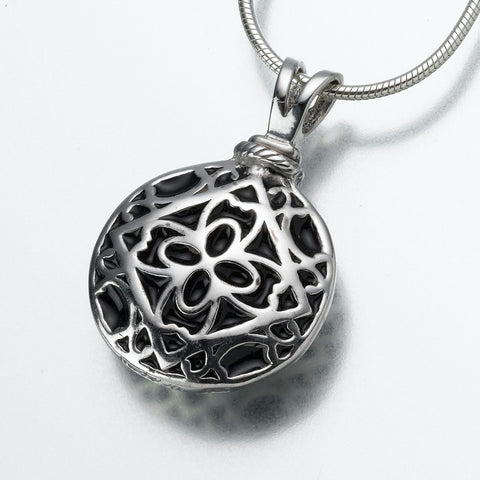 Filigree Round Keepsake Urn Pendant