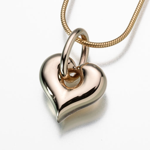Puff Heart Pendant with Loop Keepsake Urn
