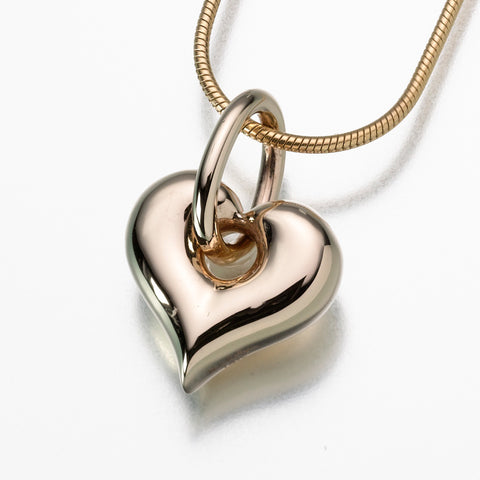 Heart Puff w/ Loop Keepsake Urn Pendant