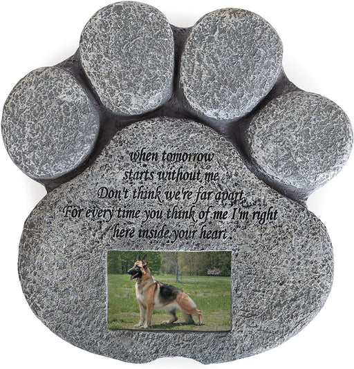 Pet Memorial Stone for Cats and Dogs – Paw Shaped Headstone