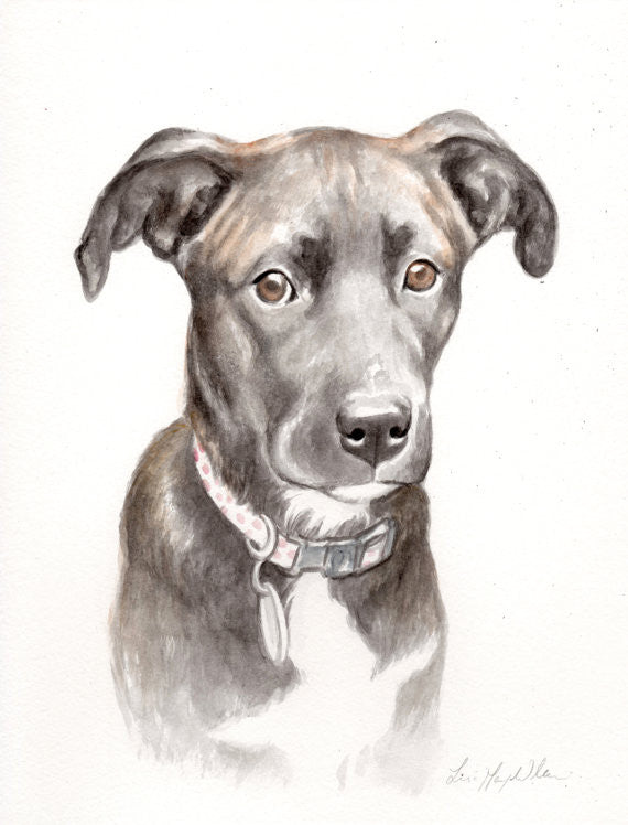 "8.5"" x 11"" Watercolor Portrait Painting by Lisa"
