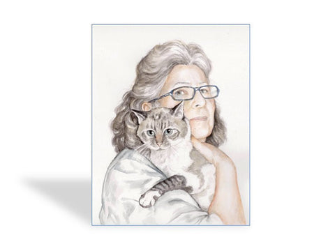 One Person + Pet Watercolor Painting by Lisa
